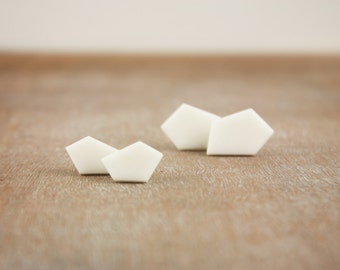 Geometric white minimal clay stud earrings, modern contemporary pentagon posts