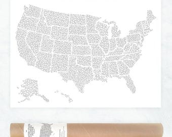 USA Travel Map Poster US Map to Color In Us Travel Map
