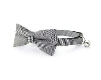 "Wedding Bow Tie Cat Collar Set - ""Oxford"" - Gray Glen Plaid Collar + Matching Detachable Bow Tie"