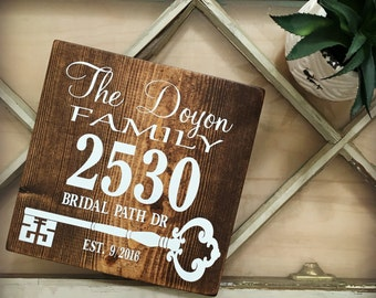 Family Name Address Sign, Housewarming Gift, New Home Sign, Skeleton Key, Welcome Sign, Last Name Sign