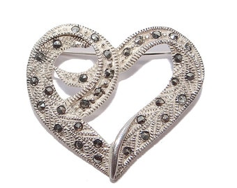 Sterling Marcasite Heart Pin - Vintage Silver and Marcasite Brooch - Gift of Love - Light and Airy - Sterling Heart Love Pin