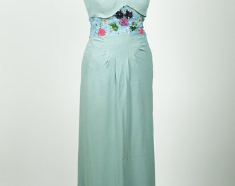 Beautiful vintage 1940s sequin dress in blue rayon crepe stunning design full length maxi xs