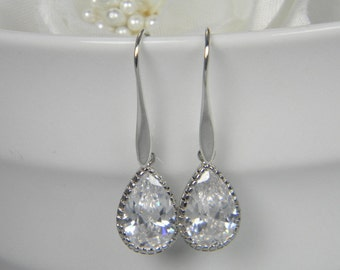 Teardrop Crystal CZ Earrings, Bridal Earrings, Wedding Earrings, Teardrop Dangle Earrings, Crystal Cubic Zirconia Statement Earrings - CZ81