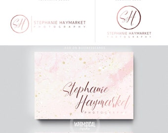 feminine script logo 2 rose gold nutral businesscards  simple modern feminine branding- logo Identity artist makeup wedding photographer