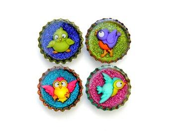 NEW Bottle Cap Magnets - Birds - Set of 4 Glitter Resin Filled