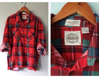 Mens Plaid Flannel Shirt Vintage Red and Green Holiday Christmas Boyfriend Flannel Winter Button Down Soft Washed Cotton Over Size 3-XL 3X