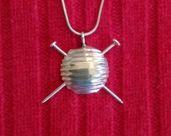 Sterling Silver Yarn Ball Pendant for your favorite knitter