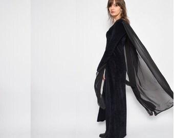 Vintage 90's Black Velvet Maxi Dress / Cape Black Velvet Dress / Long Sleeve Velvet Dress - Size Medium