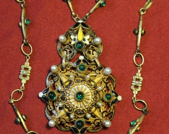 Gorgeous Hobe Austro-Hungarian Style Brass, Glass, Enamelwork Necklace