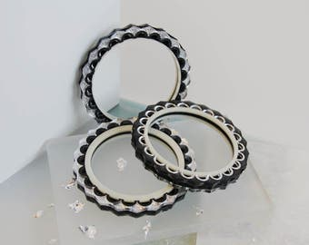 Zigzag Bangle: Silver & Slate Grey Frost. Double Sided Reversible Laser Cut Etched Patterned. Mirror Acrylic Perspex Bracelet Scallop Cutout