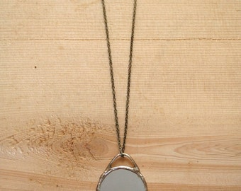 Mirror Necklace, soldered, brass, minimalist, simple, made to order