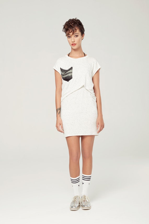 HÉMISPHÈRE - conscious tunic with oversize look, tied to the neck, with pockets for women - textured white