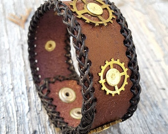 Steampunk  Leather Wristband Cuff -Steampunk Bracelet-Steampunk cuff-steampunk Girlfriend Ladies gift