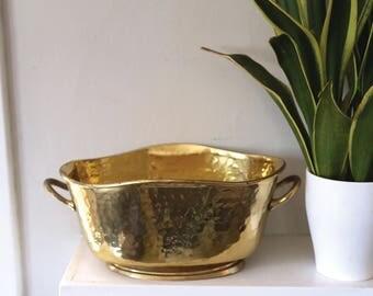 Vintage Brass Planter, Oval Shape with Handles, Shiny Brass, Hammered, Home Decor, Boho Decor