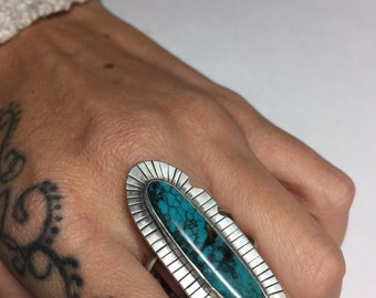 Turquoise Ring Sz 10 1/2 Feather Native Style Genuine Sterling Silver