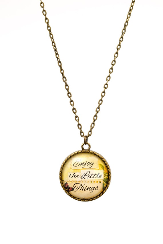 FREE SHIPPING - **NEW** Enjoy The Little Things 30mm Bronze Lace Necklace - Unique - Vintage - Gorgeous Gift - Love
