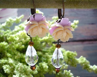 Vintage inspired earring, pearl earring, dontown abbey  earring,  pink flower earring, antique victorian earring, 1920s earring, boho chic