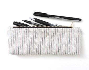 Pencil Case Zipper Pencil Pouch Stripe Denim White