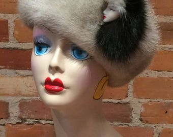 Fur Brooch - Vintage 1980s Black Fox and Silver Mink Real Fur Ceramic Lady Brooch