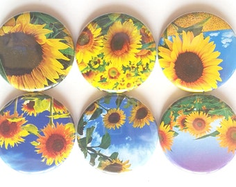 Sunflower Magnets, Pretty Magnets, Refrigerator Magnets, Fridge Magnets, Pretty Flowers Magnets, Yellow Sunflowers Magnets, Set of 6