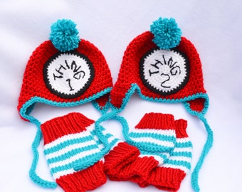 Crocheted Baby Hats - Thing 1 and Thing 2 - Newborn Photography Props