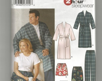 5314 Simplicity Sewing Pattern Adults Pajama Pants Shorts Robe UNCUT Size XL xxl XXXL Mens Womens