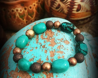 Colorful bracelet, semiprecious stones, blue, greens, cowgirl chic bohemian style