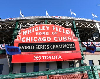 Chicago Cubs World Series picture, large photo or canvas, Wrigley Field print, wall art gift, sports baseball decor 8x10 11x14 20x30 30x45