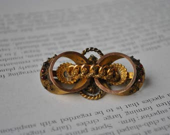Antique Victorian Gold Filled Brooch -1800s Etruscan Style Paste Stone Brooch