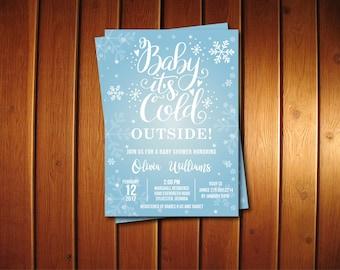 Baby Its Cold Outside Baby Shower Invitation • Winter Wonderland Printable Digital