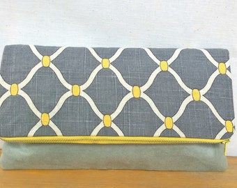 Grey Quatrefoil Foldover Clutch / Magnetic Snap / Upcycled Suede