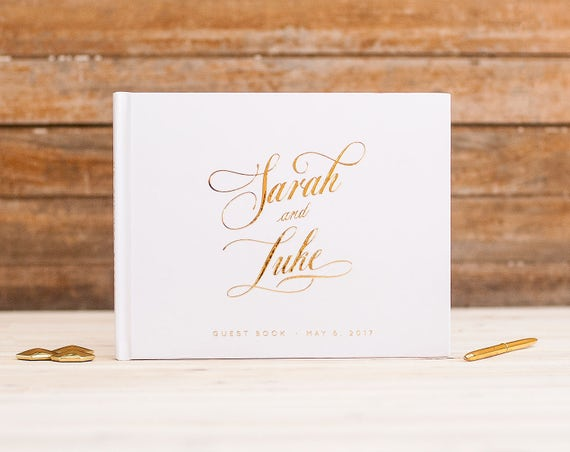Wedding Guest Book landscape horizontal wedding album with Real Gold Foil wedding guestbook instant photo book personalized names hardcover