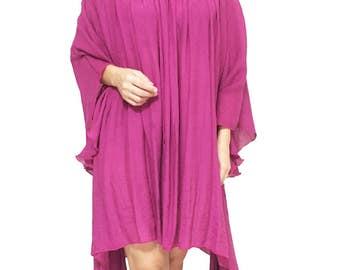 Asymmetrical drape dress Plus Size 2X - 6X Purple Plum