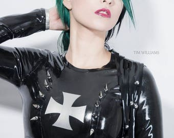 READY TO SHIP. Studded and spiked latex harness cross crop top xs-s