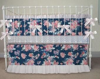 pink and navy baby girl bedding navy white by handmadebysasha. Black Bedroom Furniture Sets. Home Design Ideas