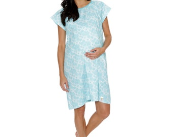 Celeste Labor Delivery Maternity Hospital Gown Baby Be Mine Gownie Aqua Turquoise Baby Shower Gift, Hospital Bag Must Have, Monogramming