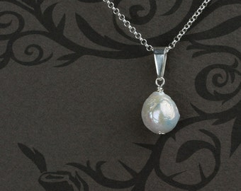 Baroque Pearl Pendant Necklace in Sterling Silver - Pendant with Natural White Baroque Pearl and Large Bail - 00318 - by allotria