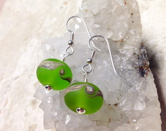OOAK Artistic Etched Lime Green and Sand Swirl with Sterling Silver Earrings