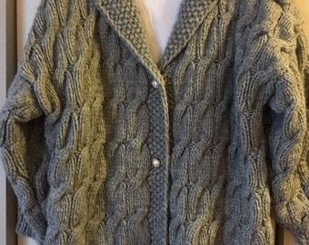 GRAY, XL Hand Knit, Cable Style  Women, CARDIGAN