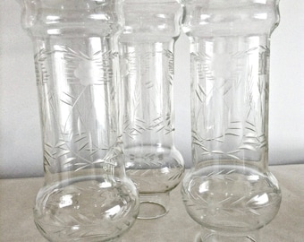 Three Etched Glass Shades, Unusual Shape, Clear Glass Oil Lamp Chimney, Chandelier? Hurricane Light Shade
