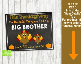 Thanksgiving Big Brother Pregnancy Announcement Sign - Printable Pregnancy Announcement Sign - Digital Chalkboard Sign
