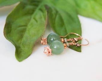 Green Aventurine Glow Earrings Copper Dangles Summer Trend Gift For Mom Wife Aunt Grandmother Sister Grad 2017 June July August Birthday