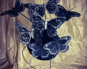 Black and silver  Glitter Butterfly hat, Effie Trinket, Feather Butterfly button hat, fascinator,butterfly costume hat.
