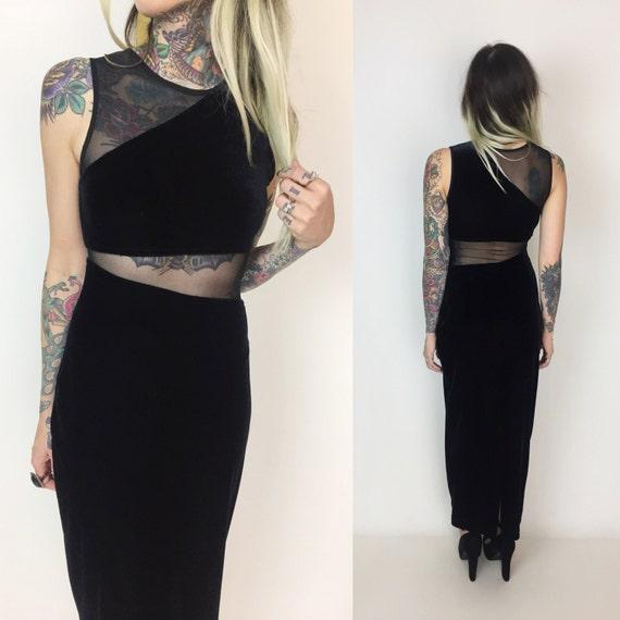 90's Black Velvet Mesh Cutout Maxi Dress Small 2/4 - Sexy Goth Velvet Maxi Tight Cut Out Mid Drift Dress - Sheer Black Maxi 1990's Formal