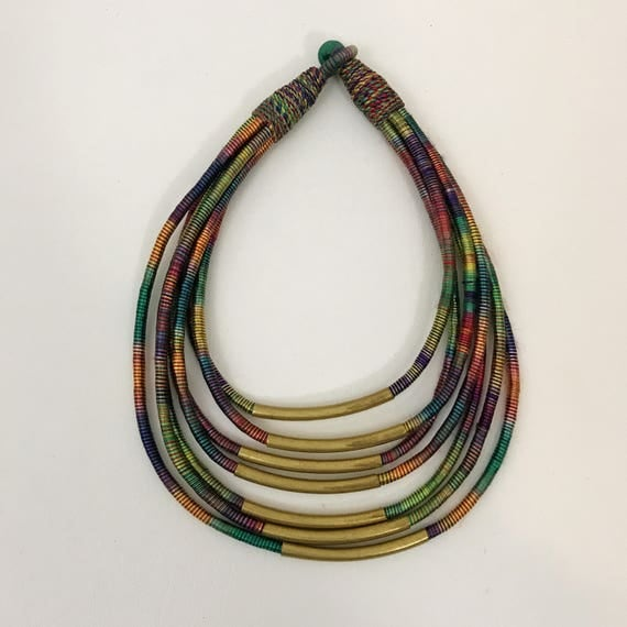 90s Beaded Brass Wrapped Handmade Necklace - Small Mini Short Jewelry Accessory - Multicolor Layered Gold Tone Choker 1990s Grunge Jewelry