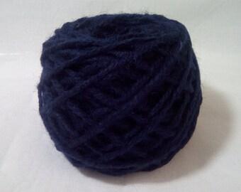 Dark Blue #21 Wool Rug Yarn 100% Wool 1/8 lb. Ready for Use 3 ply thick
