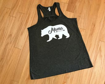 Mama Bear Tank, Racerback Top, Women's Bear Shirt, Workout Tank, New Mom Top, Mother's Day Gift, Birthday Present, Pregnancy Announcement