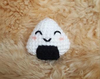 Happy Crochet Amigurumi Rice Ball Plushie, Crochet Sushi Plushie, Onigiri Plushie, Musubi Plushie