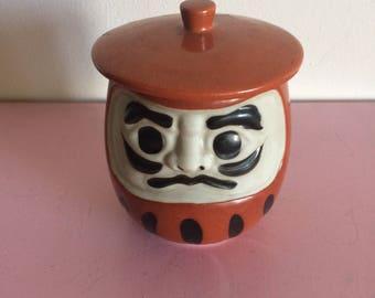 Vintage Japanese Burnt Orange Aka Daruma Lidded Cup