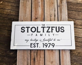 Family Name and Established Date - Last Name Sign - Family Sign - Wedding Gift - Housewarming Gift - Gallery Wall - Large Wooden Sign